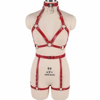 Leather Full Body Harness Bra for Women Punk Goth Red Sets Cage Strap Adjust Plus Size Festival Rave Costume