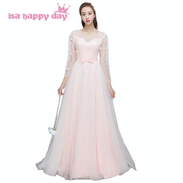 Rosa größe 2 formale kleider volle hülse schwester der braut kleid ...