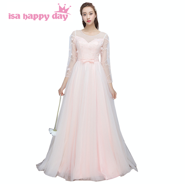pink size 2 formal gowns full sleeve sister of the bride dress women ...