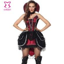 Rojo y negro mujer Victorian Gothic Vampire disfraces halloween party evil  Queen Cosplay traje adulto sexy bruja vestido de lujo 8615a4c82240