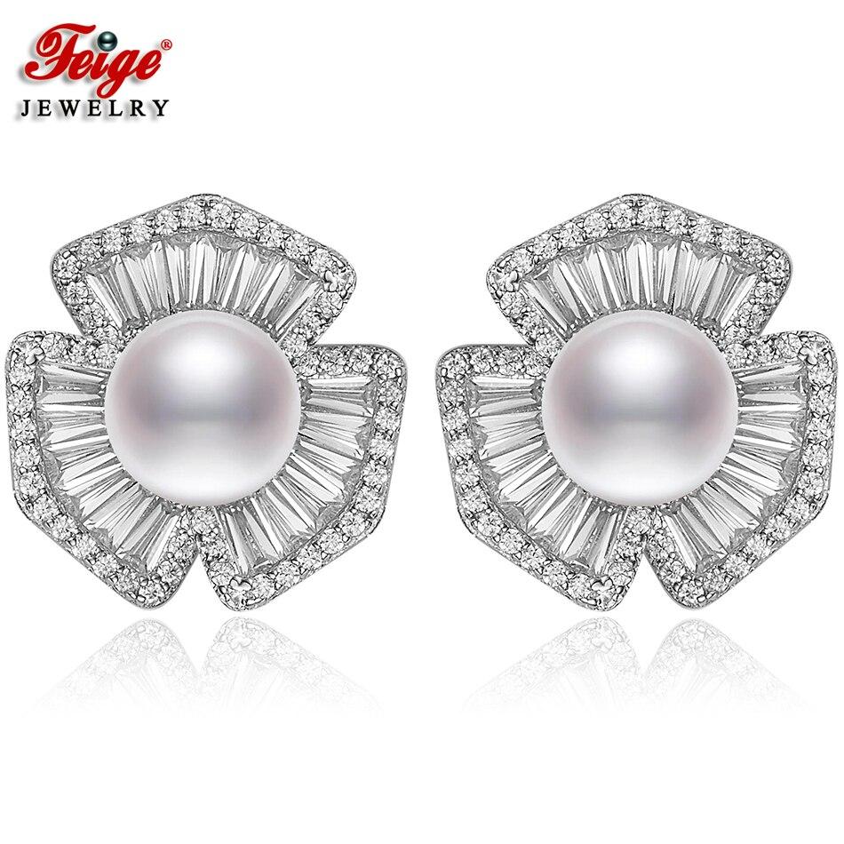 купить FEIGE Luxury Pearl Earring Real 925 Sterling Silver Earrings for Women 8-9MM White Freshwater Pearl Jewelry Brincos Ladies Gift по цене 3527.71 рублей