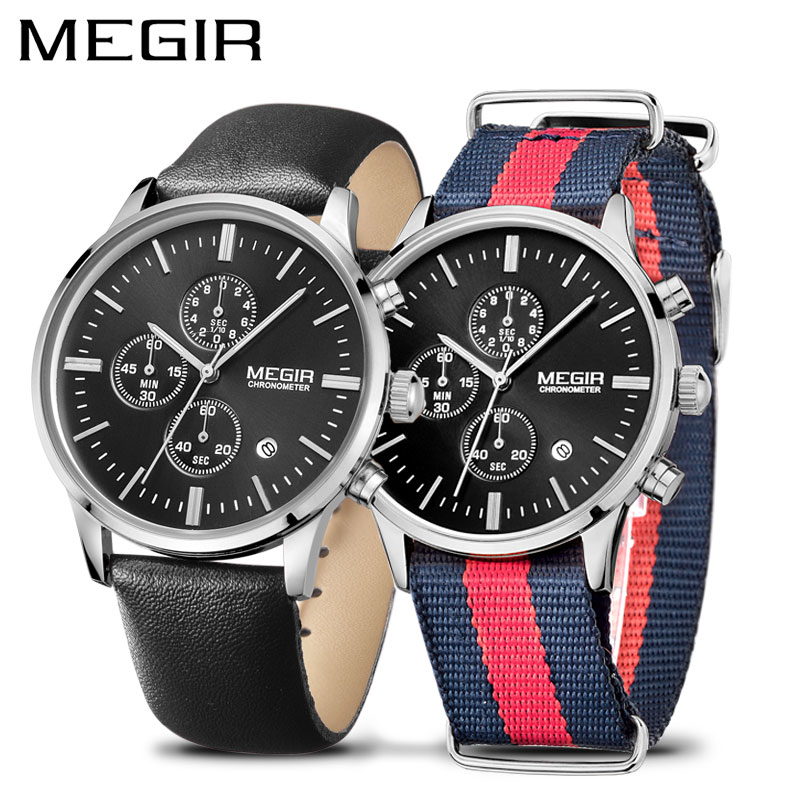 Marque de luxe MEGIR montres hommes mode noir chronographe amoureux Quartz Montre ensemble Erkek Kol Saati Montre Homme Couple Montre-bracelet