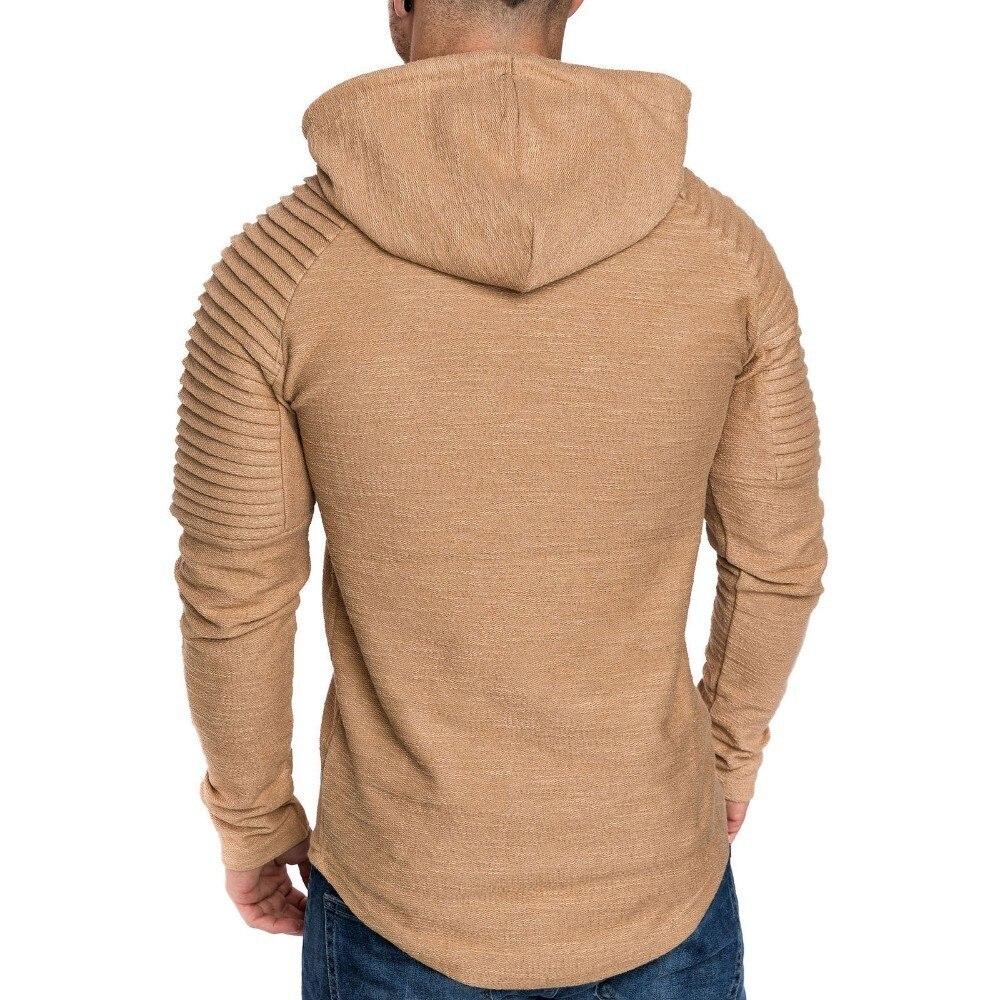 Moomphya Ragan sleeve hooded men t shirt Pleated sleeve t-shirt men Longline curved hem Hip hop slim tshirt streetwear tops 1