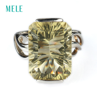 Natural Lemon Quarts Silver Ring Rectangle 13mm 18mm Full Cutting Fire Beautiful And Fashion Style Only