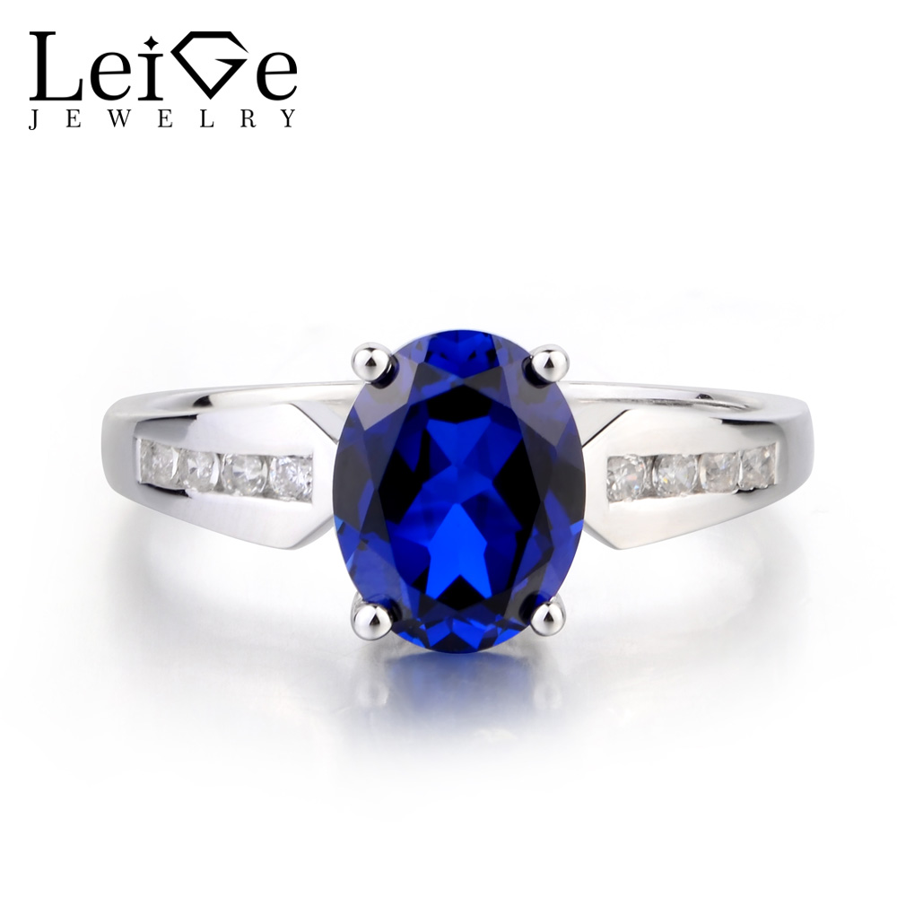Leige Jewelry Lab Sapphire Ring Promise Ring Oval Cut Blue Gemstone Ring 925 Sterling Silver Ring September Birthstone for Lady leige jewelry oval cut lab blue sapphire promise ring 925 sterling silver ring gemstone september birthstone halo ring for her