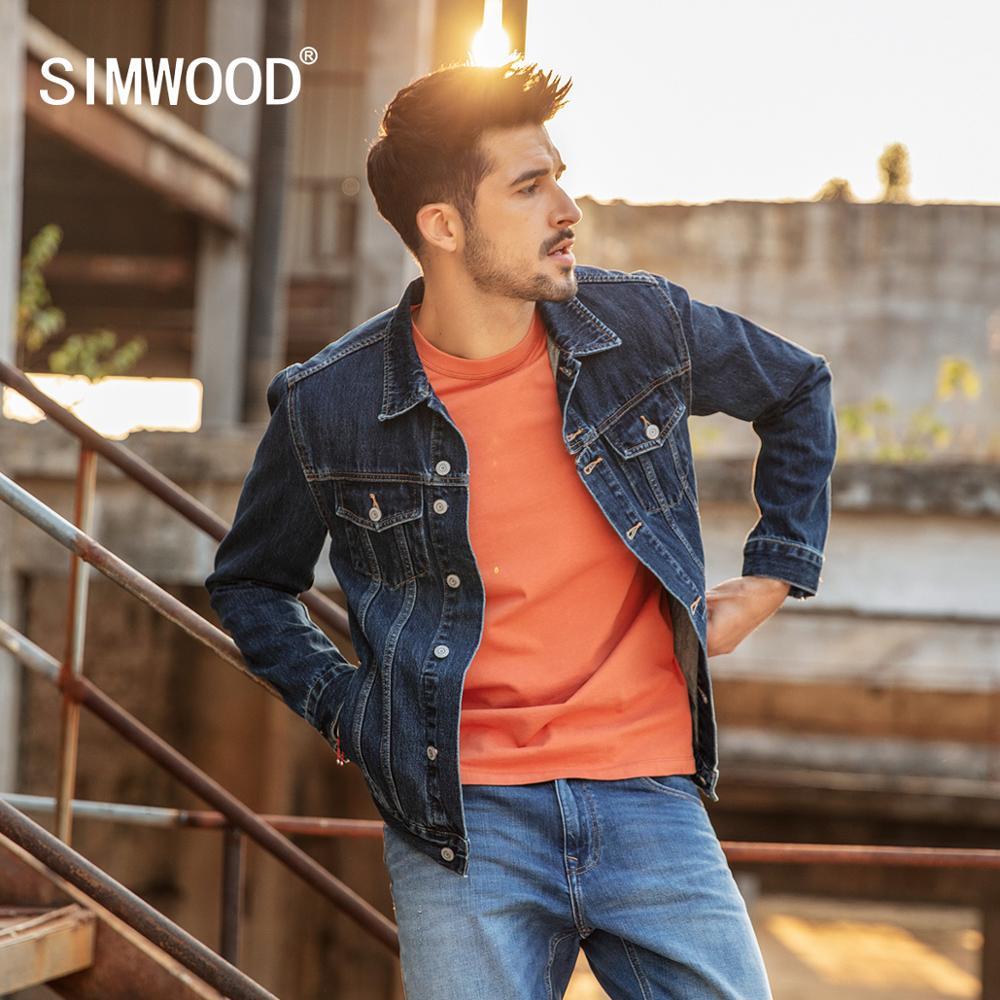 Simwood 2019 새로운 봄 짧은 데님 재킷 남자 캐주얼 브랜드 의류 슬림 남성 패션 청바지 겉옷 플러스 사이즈 코트 190034-에서재킷부터 남성 의류 의  그룹 1