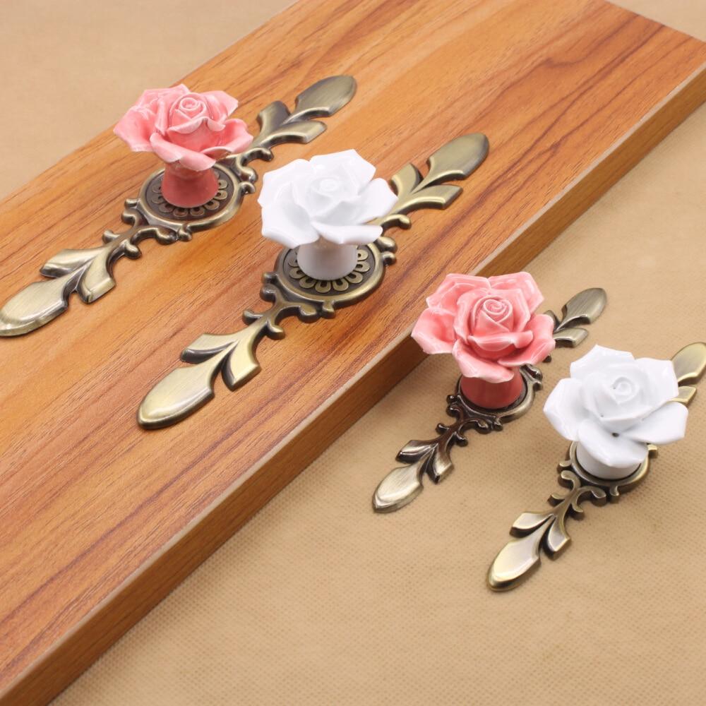 Ceramic antique copper rose puckering handle hand knead green bronze white cabinet wardrobe European pumpkin handle
