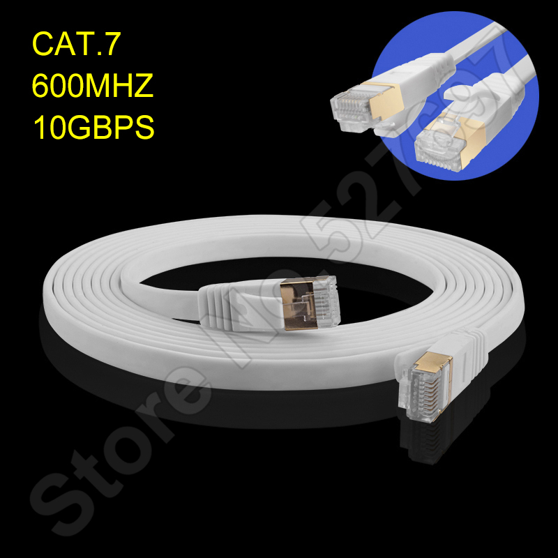 CAT7 Gigabit Ethernet Cables Flat Design Copper 600mhz 10GBPS 2.3mm thin Computer Network Internet Lines Stable Network 1-5m