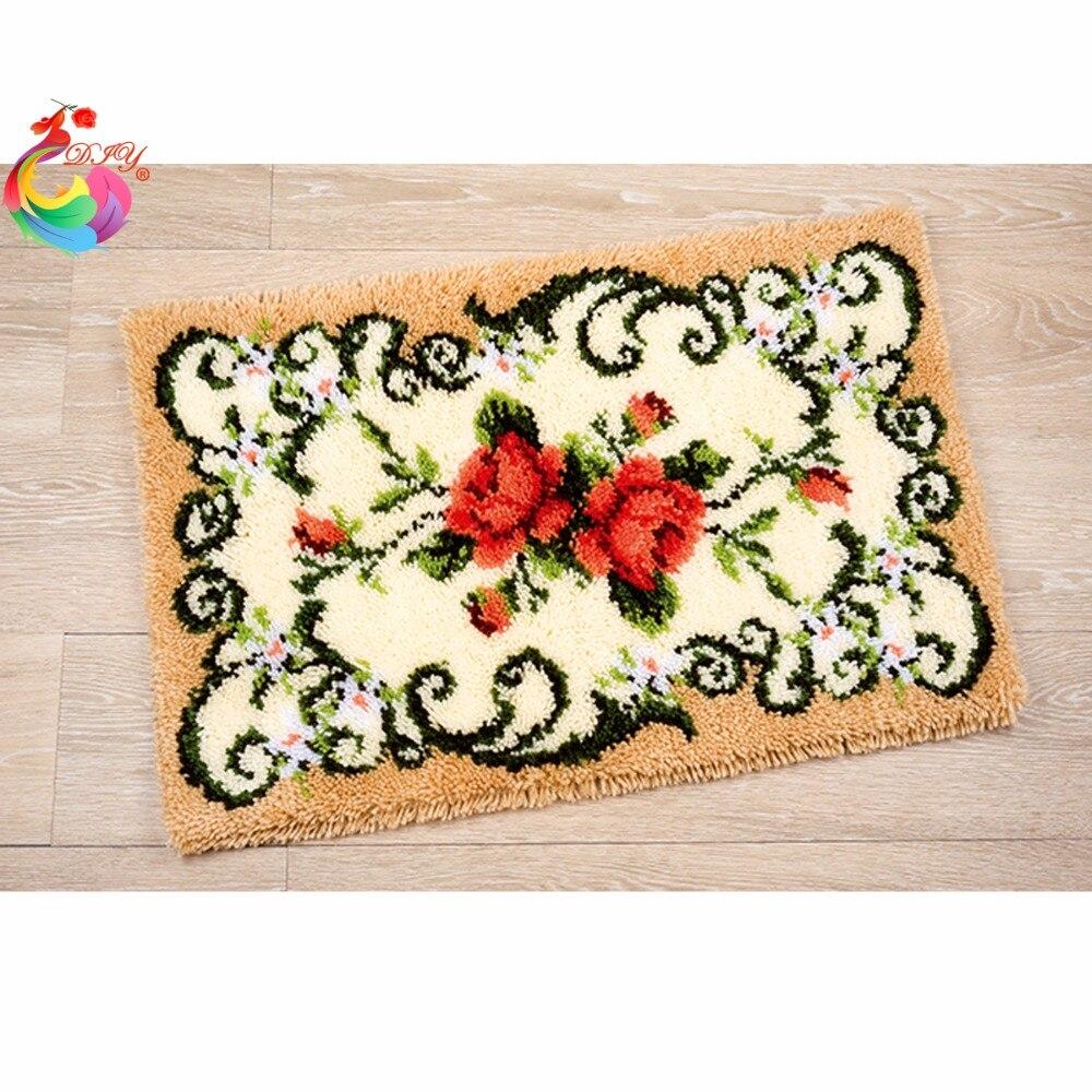 Virágos képek keresztkötésű szálak hímzéskészletek Stitch szálak Rögzítő kampós szőnyeg készletek Szőnyeg hímzés habirán kézimunka
