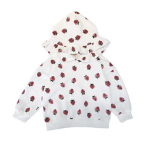 New Arrive Girls Sweatshirts for Spring Autumn Fashion Cute Childrens Strawberry Print Hooded Sweatshirt Kids Tops Coats