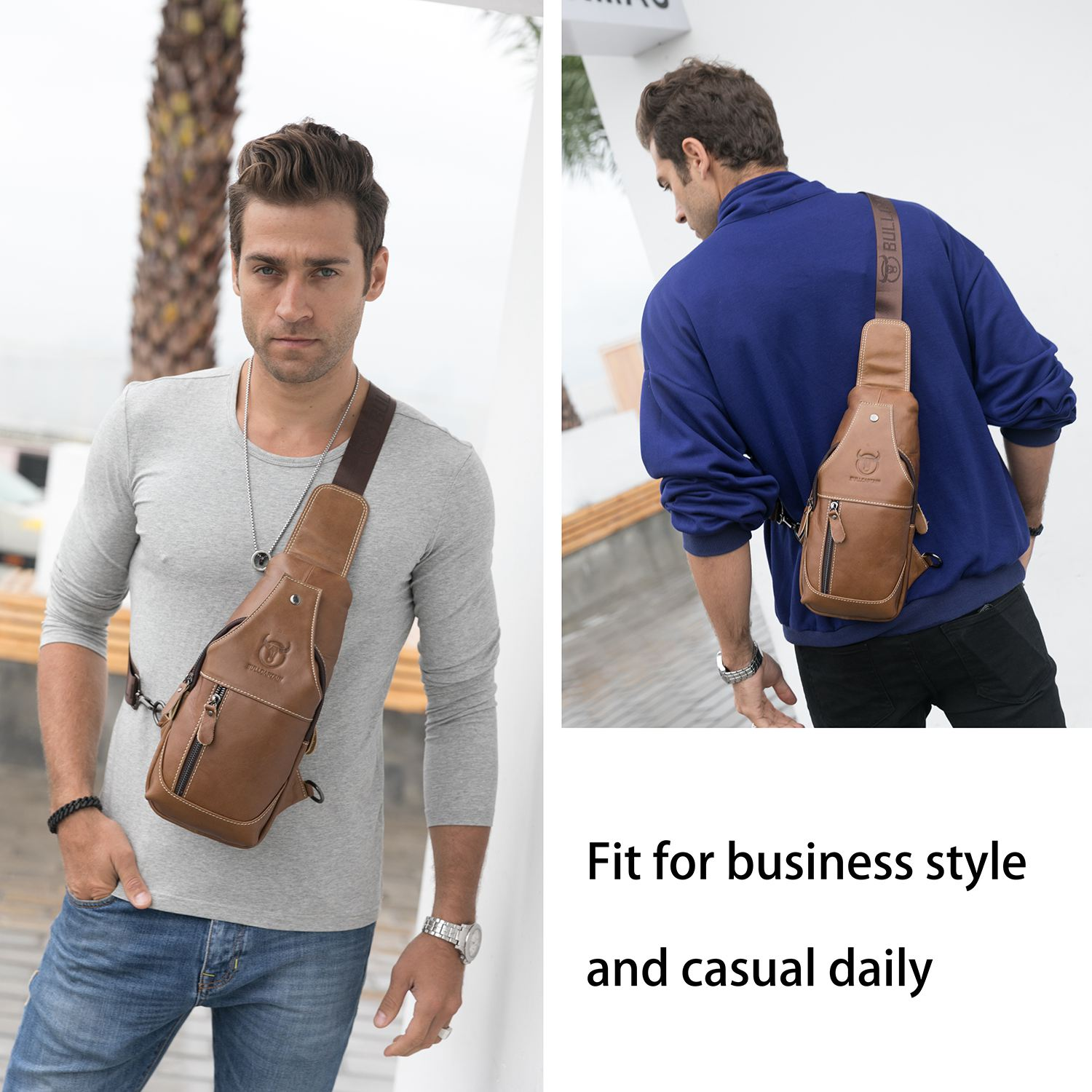 7082a85782dd US $18.59 22% OFF|Men's Sling Bag Genuine Leather Chest Shoulder Backpack  Cross Body Purse Water Resistant Anti Theft For Travel School on ...