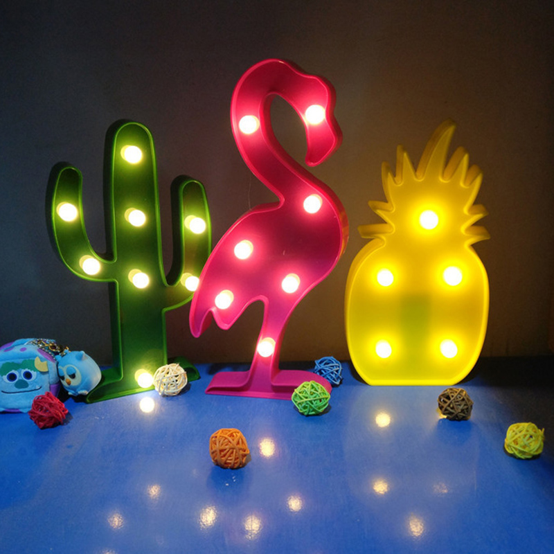 New 3d light up led toys night light flamingo pineapple for Kids room night light