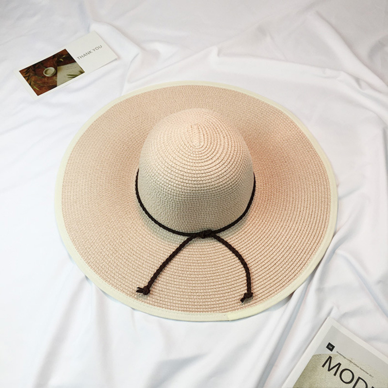 47e37a09dcf HT995 2017 New Summer Sun Hats for Women Big Large Brim Beach Hats Ladies  Stylish Floppy Hats Solid Anti UV Straw Hat Cap Female-in Sun Hats from  Women s ...