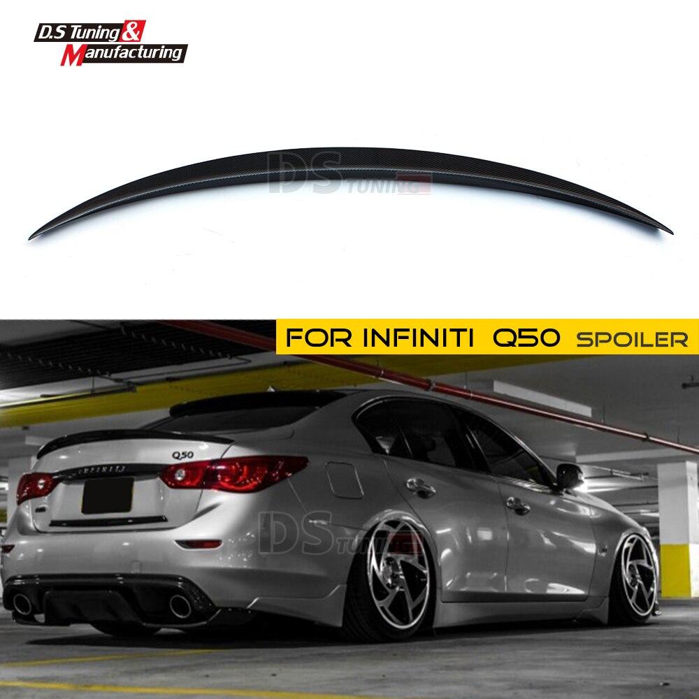 Rear Spoiler Wing Carbon Fiber Material For Infiniti Q50 4-door Sedan 2014 + Tail Back Lip Splitter bsg fv21811gtn 51 1995 nissan altima 4 door sedan rear driver vent green tint auto glass