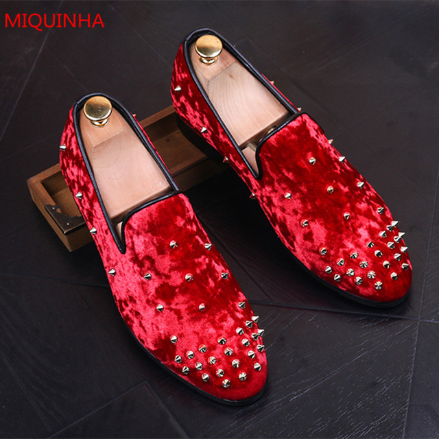 4d5dc9c2873 Miquinha Brand Spring Autumn Red Velevt Spikes Men Loafers Slip On Pointed  Toe Embellished Studs Comfortable Men Slippers Shoes
