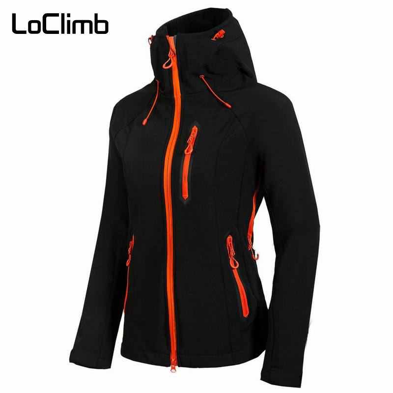 LoClimb Female Softshell Hiking Jacket Women Spring Windproof Waterproof Coat For Outdoor Sport Trekking Cycling Travel