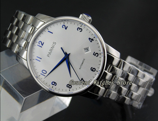 38mm Parnis Stainless Steel Strap Bracelet White Dial Miyota Automatic Movement Men s Watch