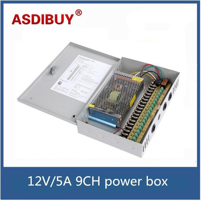 bilder für 12 V/5A 9CH cctv-stromversorgungseinheit 9CH Insgesamt Ausgänge DC 12 V 5A Cctv-netzteil CCTV Box Für Cctv kamera