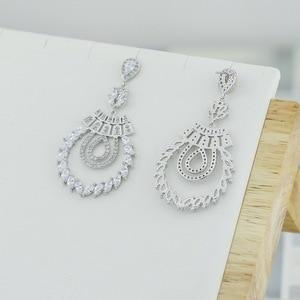 Image 4 - Pendiente de boda con colgante de rama de circonia cúbica para mujer, joyería para niña, aretes de cristal CE10191