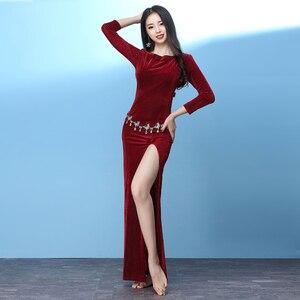 Женское платье для танца живота, облегающее платье с высоким разрезом для танца живота