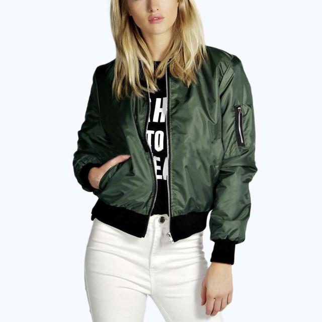 Celeb de alta Qualidade Femininas 2017 Moda Mulheres Sólidos Brasão Bomber Jacket Gola Casuais Fino Casaco Curto Outerwear Plus Size