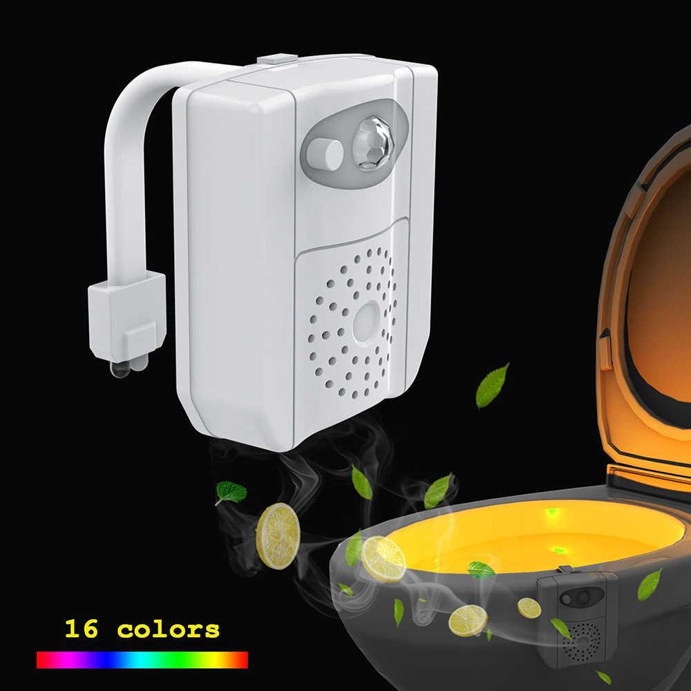 Уф стерилизация Туалет свет 16 Изменение движения сенсор активированный RGB PIR светодио дный светодиодный ночник сиденье батарея работает для унитаза