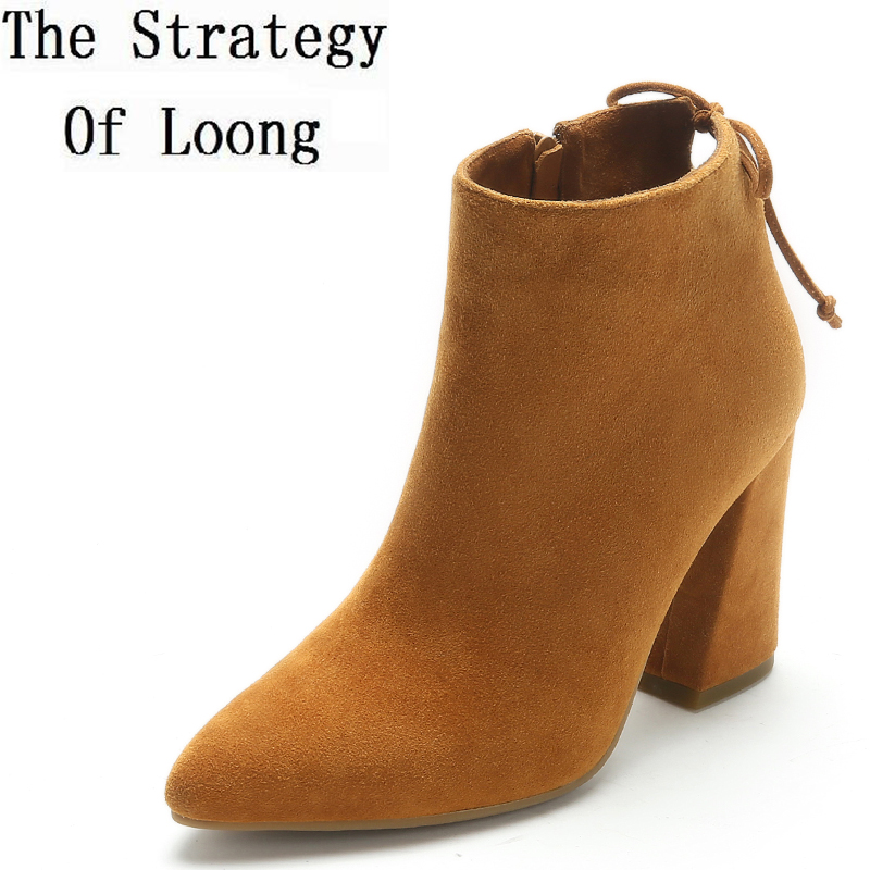 Sheepskin Lace Up Pointed Toe High Heels Women Ankle Boots Pure Color Genuine Leather Spring Autumn Zipper Short Boots ZY171018