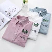 Dioufond Vrouwen Borduren Shirt Blouse Roze Lange Mouwen Casual Top Katoen School Shirt Vrouwelijke Pockets Leuke Casual Blusas