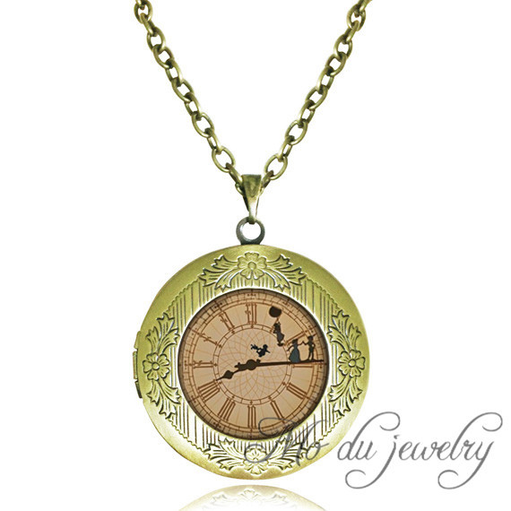 Peter pan jewelry steampunk clock locket necklace movie Tinkerbell,Off To Neverland necklaces pendants steampunk jewelry for men