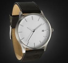 Correa de Cuero genuino Reloj de Cuarzo Silver Case Movimiento con La Fecha