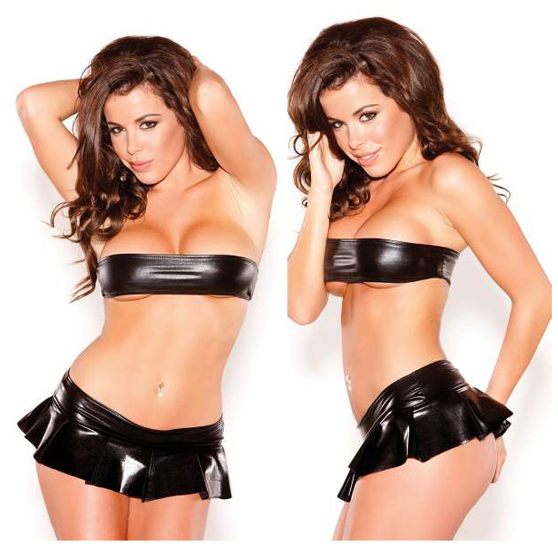 Women Sexy Imitation Leather Lingerie Chest Wrap Shorts Set Club Pole Dancing Costume Dress Black
