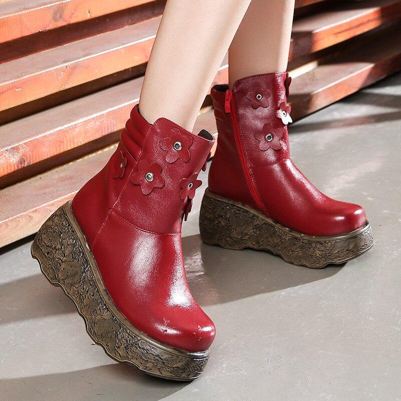 Nuevo rojo Tacón Elegante Vaca Mujer Retro Negro Botas Otoño Zapatos Cuero Cuñas Más Plataforma Mujeres Alto Snurulan Blancas marrón Flor De 2018 Piel 8xqpUBp