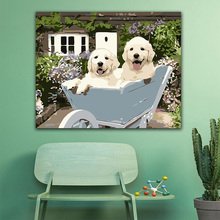 DIY colorings pictures by numbers with colors Two cute white dogs picture drawing painting framed Home