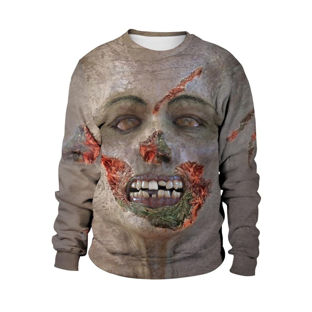 Unisex Sweatshirts Halloween 3D Print terror Realistic human face Long Sleeve couples round neck Sweatshirt Halloween costume image