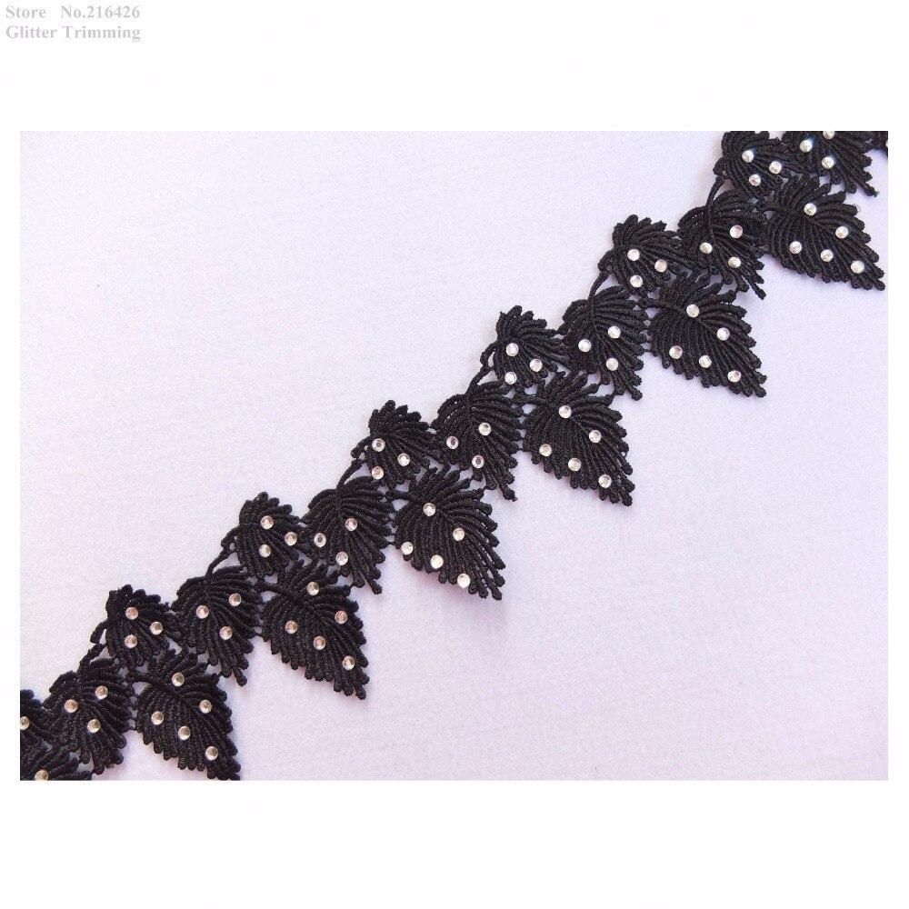 2 X  Embroidered Venise Lace Sequins /& beaded Applique Trim Motif Black # 1