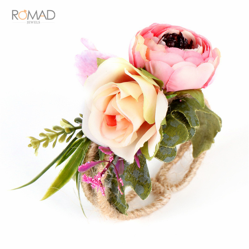 Romad Wedding Bridesmaid Bride Hand Flowers Wrist Corsage Woven Straw Cuff Bracelet For Wedding Prom Accessories