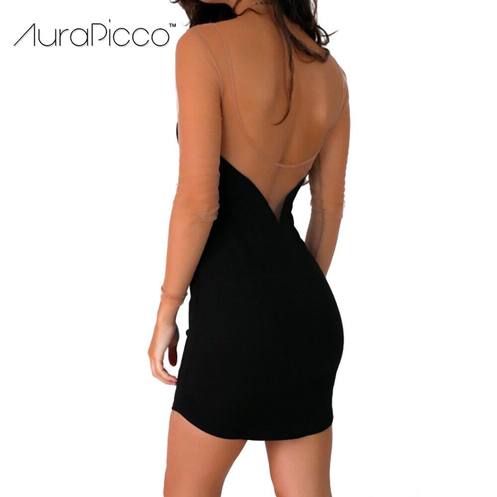 Sexy Deep V Neck Cut Out Bodycon Dress See Through Mesh Long Sleeve ... a60e9e937