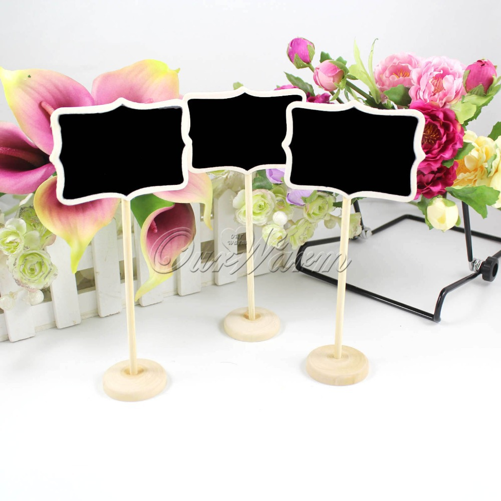50Pcs/lot Mini Wooden Wood Chalkboard Blackboard On Stick Stand Place Card Holder Table Number for Wedding Event Decoration