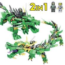 417Pcs Lloyd Green Dragon Ninja Building Blocks Ball Action Figures Bricks Educational Toys for Children
