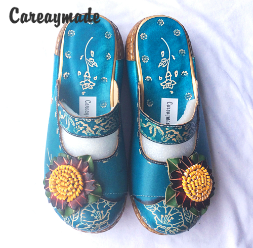 Careaymade Hot selling New Hot Summer Women cowhide thick bottom flat slippers Nation style candy color
