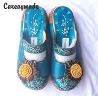 Careaymade Hot Selling New 2017 Summer Women Cowhide Thick Bottom Flat Slippers Nation Style Candy Color