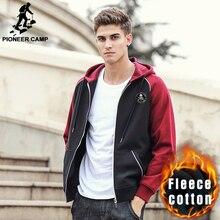 Pioneer camp frühling winter hoodie sweatshirt männer neue ankunft marke clothing männlichen reißverschluss dicke fleece sweatshirts mode 622168