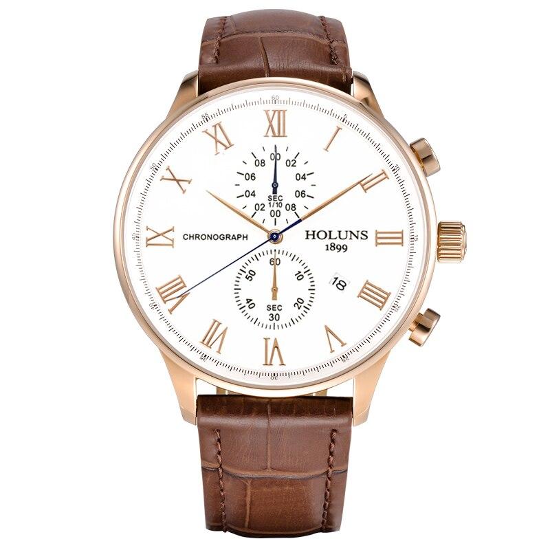 купить HOLUNS Mens Chronograph Watches Top Brand Luxury Leather Casual Quartz Watch Men Sport Waterproof Clock Watch Relogio Masculino по цене 6731.75 рублей