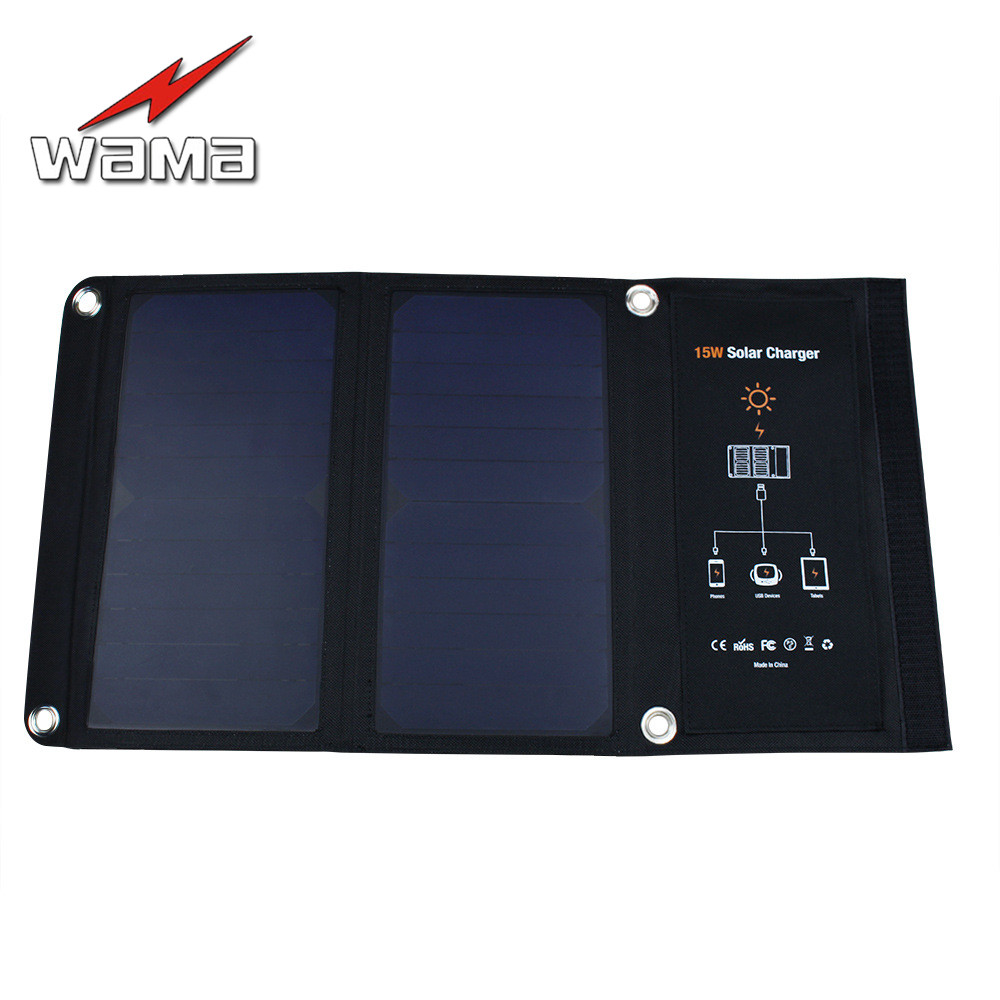 1x Wama 15W PET Solar Panels Charger for Mobile Phones 18650 Batteries Power Bank USB Outdoors Waterproof Foldable 2500mA