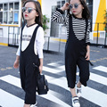 2016 Girls Children Clothing Set Summer Wide Leg Sets Casual Striped Straps Kids Sports Suits T shirt+Bib overall girls clothes