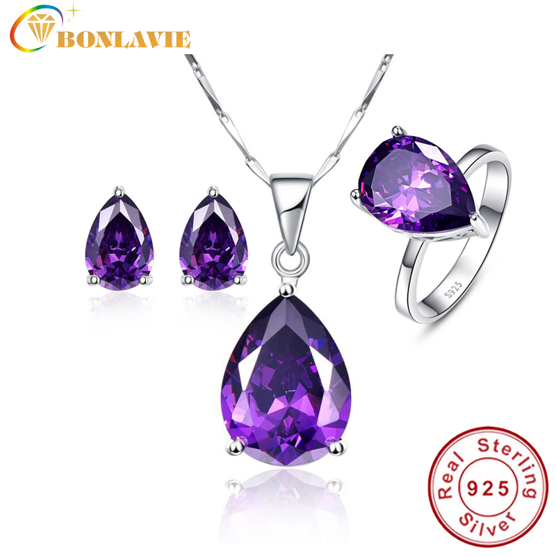 Nature Amethyst Water Drop Shape Bridal Wedding Jewelry Sets 925 Sterling Silver Jewelry Earrings Ring Necklaces
