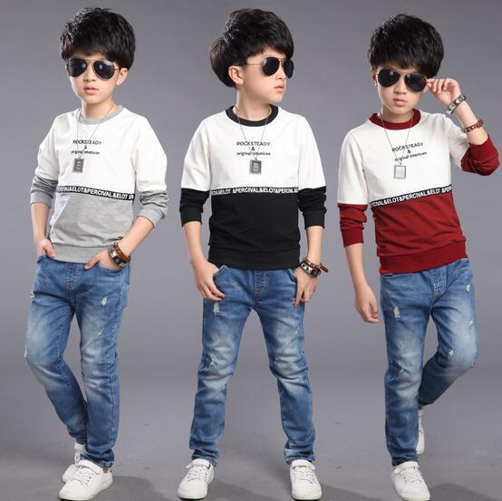 T-shirt Para Os Meninos inglaterra Estilo Simples Carta Camisa Base de Roupas Infantis Menino O Pescoço Completo Manga do Menino Da Criança Pullover Para Crianças