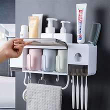 1Set Automatic Toothpaste Dispenser Towel Holder Wall-Mount Toothpaste Squeezer Toothbrush Rack With Hook Bathroom Accessories wall mount dust proof toothbrush holder dispenser hair drier rack automatic toothpaste squeezer dispenser bathroom accessories