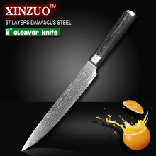 "XINZUO 8 ""inch China Damascus kitchen knife cleaver knife 67 layers kithcen tool senior Sashimi knife pakka wood free shipping"