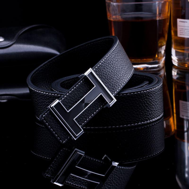 Men   Belt   2018 Cowhide Genuine Leather   Belts   for Men Fashion Smooth Buckle   Belts   with Letter H Women   Belts   Cinturones Hombre